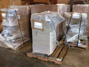 office equipment wrapped for electronic recycling