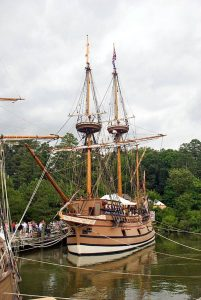 "John Smith's Replica Ship at Jamestown Settlement""]"
